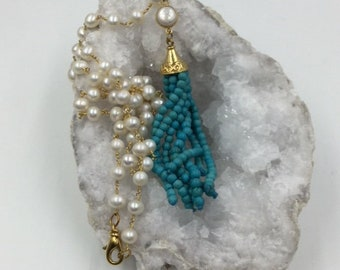 Pearl Rosary Chain with Turquoise Tassel