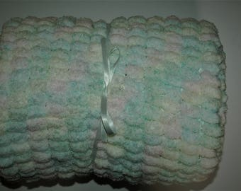 Multi Coloured Pastels Pom Pom Hand Knit Baby Blanket