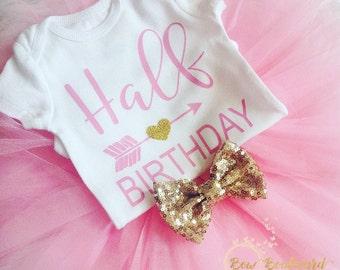 Half Birthday Shirt 6 Month Photo Outfit Girl 1 2 Gold Glitter Tutu Onesie Arrow