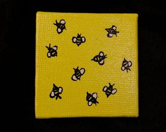 Bumble Bees miniature painting