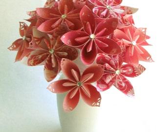 Coral Breezes Bouquet, Paper flower bouquet, Paper bouquet, Origami flowers, Origami bouquet, Coral bouquet