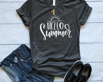Hello Summer shirt / Crew Neck, V Neck, Long Sleeve OR Raglan Available / Summer shirt / Summer Tee / Women's Graphic shirt / Summery shirt