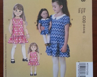 McCall's Laura Ashley Girl and Doll Dress Pattern #M7233 - Size 2,3,4,5