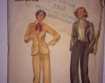 Vintage 1980s Women's Pant Suit Sewing Pattern - Size 12 (Small) - Original with Envelope