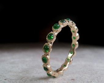 Emerald Gold Eternity Ring - 14 Karat Ring - 9 Karat