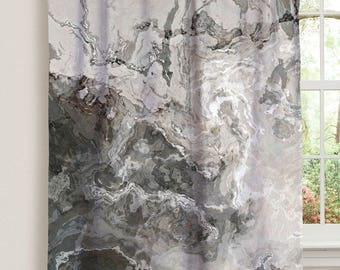 "Abstract art window curtain in warm gray , 50""x84"" blackout drapery panel, contemporary rod pocket curtain, living room decor, Geologic"