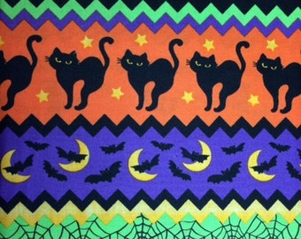 Timeless Treasures HALLOWEEN STRIPED - 100% Cotton Premium Fabric - sold by 1/2 yard