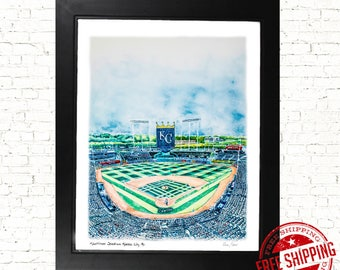 Kansas City Royals Poster, Kauffman Stadium, Missouri, Kansas City Royals wall art