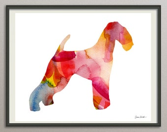 airedale terrier dog art print watercolor print poster painting wall art silhouette , dog wall art
