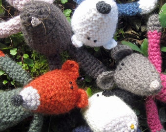 SET of 4 Crochet Patterns for Silly Animals- You Choose!
