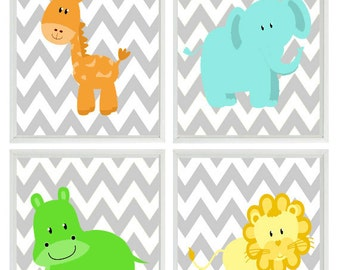 Safari Nursery Art - Chevron Elephant Giraffe Hippo Lion Safari Wall Art Print Set   - Children Kid Room Home Decor Wall Art