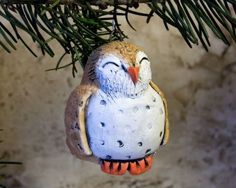 Owl Woodland Holiday Ornament (Ready to Send)