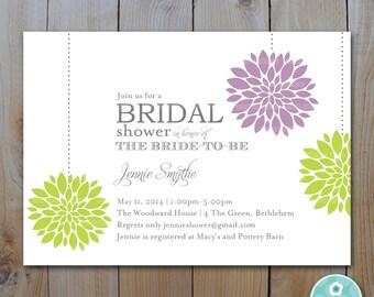 Bridal Shower Invitation / Purple Green Pom Pom Flowers / PRINTABLE INVITATION /#1150