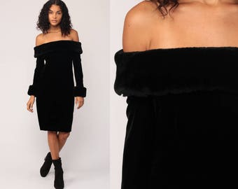 Fur Shoulder Dress