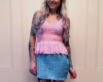 Pink and Blue Mermaid Ruffle Dress Small 4/6