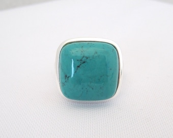 Vintage Sterling Silver Turquoise Dome Ring Size 8