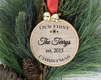 Our First Christmas, Newlywed Christmas Gift, Ornament, Rustic Christmas Decorations, Christmas ornament gift, Holiday Ornament