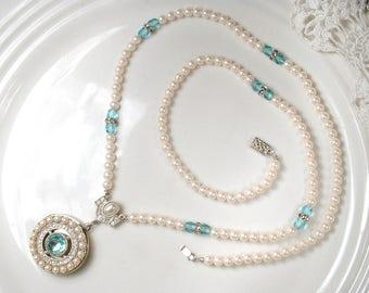Vintage Pearl Aqua Crystal Flapper Locket Necklace, Art Deco Pave Rhinestone 1920s Wedding Great Gatsby Jewelry Long Downton Abbey Memorial