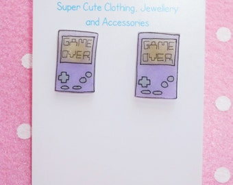 Retro Gamer Hand Held Console Earrings Studs - Lilac and Mint