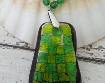 Green glass Pendant, lemon & lime  pendant, gorgeous green glass beaded  necklace, Green Foil Glass necklace, large green and Lemon pendant