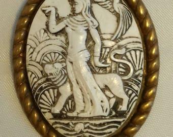 Art Deco Egyptian Revival Celluloid Brooch