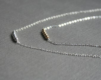 Simple, tiny, sterling silver necklace with 14k GOLD FILLED BEADS
