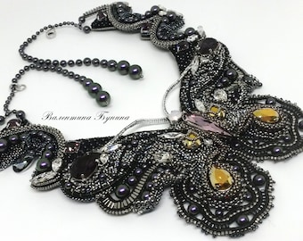 butterfly necklace necklace with Swarovski crystals silver necklace with leather cords beaded necklace asymmetric necklace