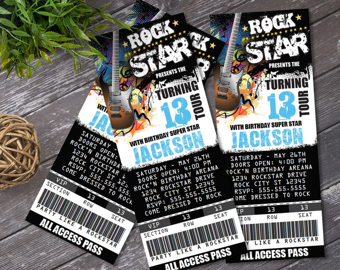 Rockstar Party Ticket Invitations - Party like a Rockstar- Rock n Roll Birthday | Editable Text - Instant Download DIY Printable PDF Kit