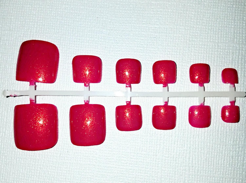 Deep Pink Fake Toe Nail Set- Press on Toes- Glue on Toes- Acrylic ...