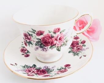Roses and Lilacs Tea Cup and Saucer, Queen Anne, Shower, Birthday, Gift for Her