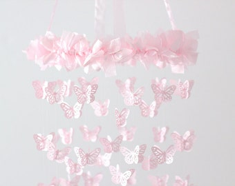 Pink Nursery Mobile Chandelier- Butterfly Mobile, Baby Shower Gift, Nursery Decor, Wedding Chandelier