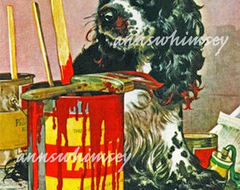 Nursery Art, Dog Art, Childs Room Art, , Kitchen Art, Bathroom Art Dog Art Print, Butch The Ornery Dog  Helps Paint #200