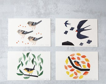 Four migratory birds postcards (from my 2017 calendar)