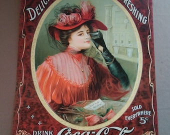 Vintage Classic Coca-Cola Reproduction Tin Advertising Sign, Made in USA