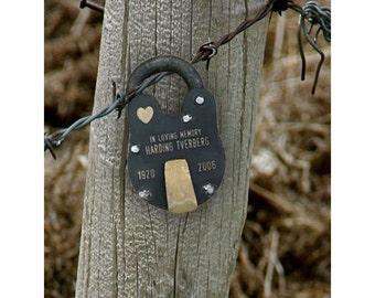 ANTIQUE VINTAGE LOCK, In Memory Of, Memorial Padlock, Personalized