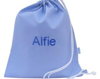 Personalised PE Bag, Shoe Bag, School Bag - Pale Blue