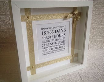 Golden wedding anniversary gift, 50th wedding, fifty, silver/ruby/diamond anniversary, 50th birthday, Mr & Mrs, married in 1968, 50th frame