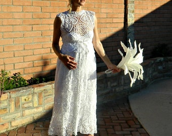 Maternity-Spring Wedding Dress-Lace Wedding Dress-Bridal Skirt-Hand Crochet Lace Couture Pineapple-Pregnant Bride Collection