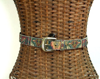 Southwestern Aztec Tapestry Fabric & Leather 90s Silver Buckle Belt