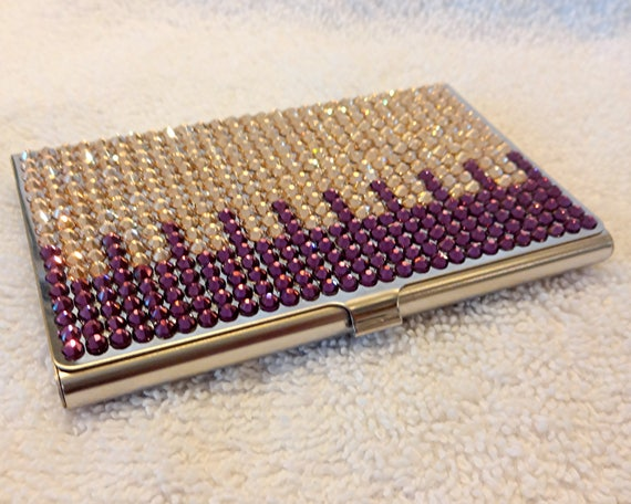 Rhinestone business card case swarovski purple and gold bling colourmoves Image collections