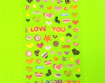 Hearts I Love You Valentine Cute Super Kawaii Kitschy Kyuuto Puffy Vinyl Sticker Set