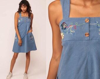 Pinafore Dress 70s Mini Boho Babydoll FLORAL EMBROIDERED Jumper 1970s Vintage Blue Summer Sundress Sleeveless Bohemian Petite Extra Small xs