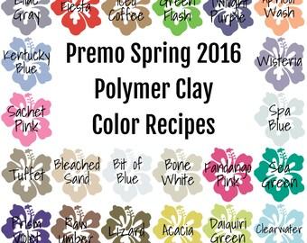 Premo Spring 2016 Polymer Clay Color Recipe Ebook