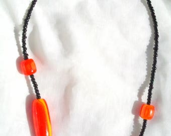 black and orange ethnic necklace for women