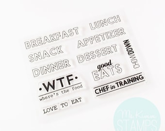 "Retirement Sale - Ms. Kimm Creates GOOD EATS 3""x4"" Photopolymer Clear Stamp Set - Project Life, Bullet Journal, Planner, Stamping - Retiring"