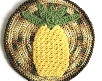 "Pineapple Pot Holder, Cotton Crochet Yellow Pineapple Hotpad, 10"" Round Pineapple Potholder, Thick Table Centerpiece Colorful Trivet"