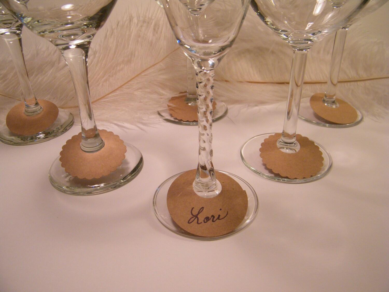 Wine Glass Charms DIY Labels Eco Friendly Kraft