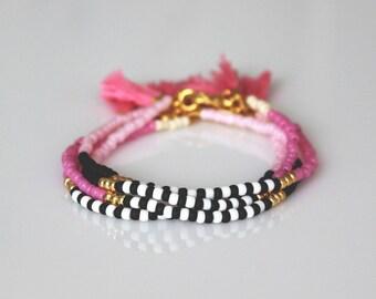 Boho chic bracelet friendship bracelet Tassel Bracelet ONE beaded  bracelet-Pink