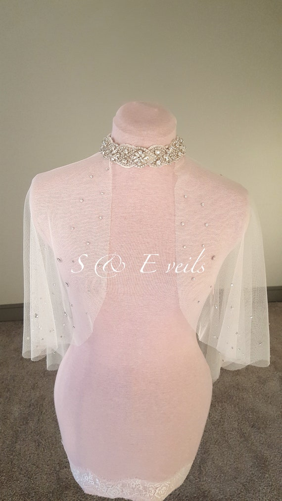 Wedding Cape - Raw Edge with Crystals and neckline accessory