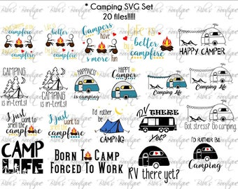 20 Camping SVG files * Camp Life * Campfire * S'Mores * Rather Be Camping * Happy Camper SVG * rv Camp